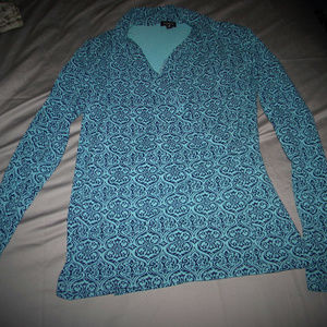 Talbots Wrap look Top in Aqua and Navy Blue